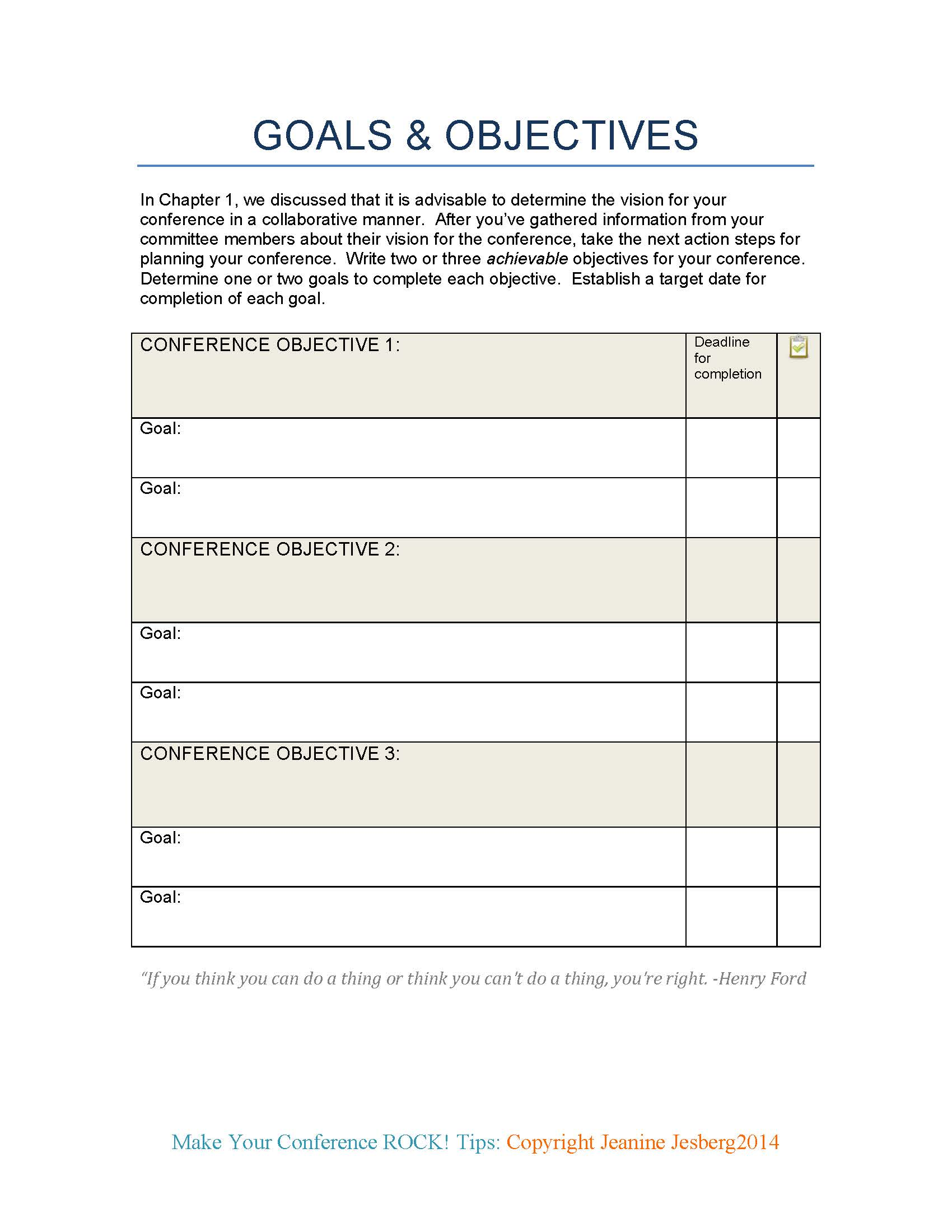Printables Goals And Objectives Worksheet make your workshop rock tips and tools developing vision goals objectives